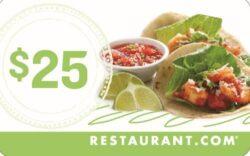 Restaurant $25 Card